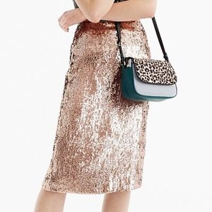 J.Crew Rose Gold Sequins Skirt